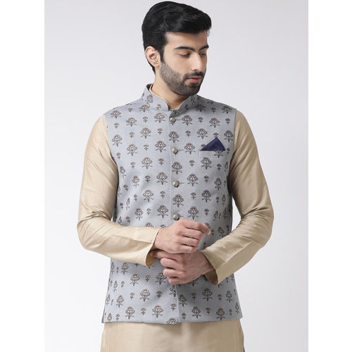KISAH Men Grey Printed Nehru Jacket