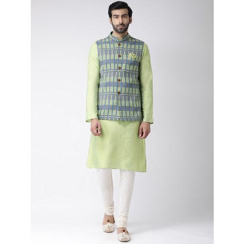 KISAH Men Grey & Green Printed Nehru Jacket