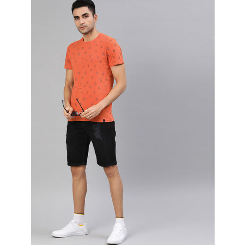 SINGLE Men Orange Slim Fit Printed Round Neck T-shirt