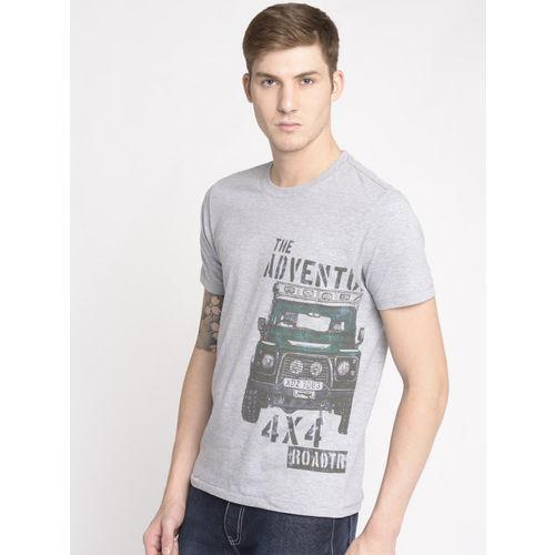 Newport Men Grey Printed Round Neck T-shirt