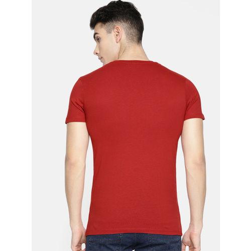 Jack & Jones Men Red Slim Fit Printed Round Neck T-shirt
