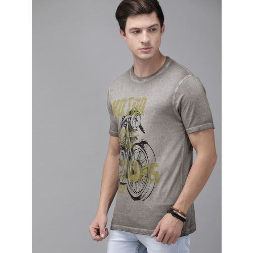 Roadster Men Grey Printed Round Neck T-shirt