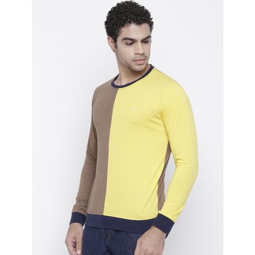 GHPC Men Brown & Yellow Colourblocked Slim Fit Round Neck T-shirt