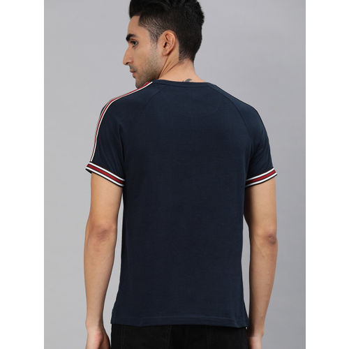 SINGLE Men Navy Blue Solid Round Neck T-shirt