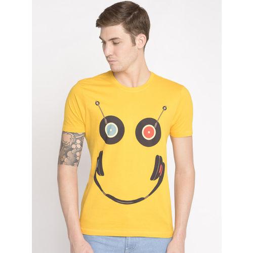 Newport Men Yellow Printed Round Neck T-shirt