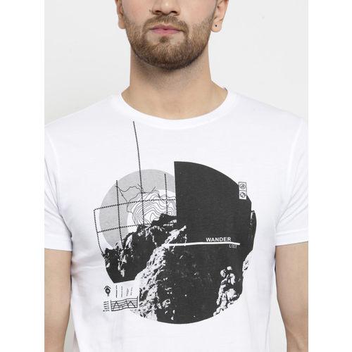Hue Men White Printed Round Neck T-shirt