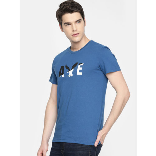 AMERICAN EAGLE OUTFITTERS Men Navy Blue Printed Classic Fit Round Neck T-shirt