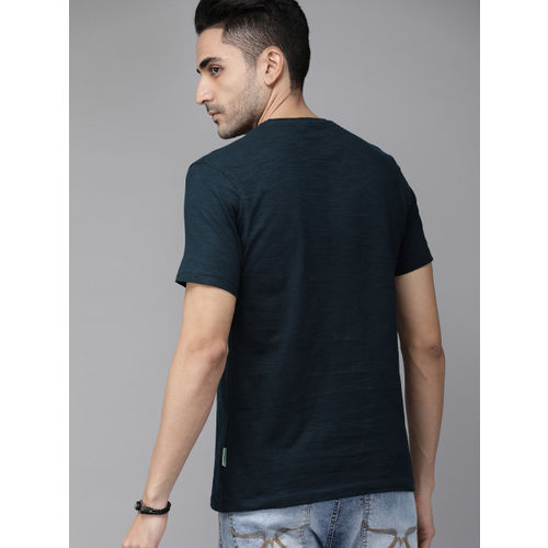 Roadster Men Navy Blue & Green Printed Round Neck T-shirt