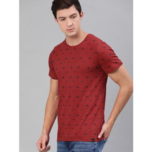 SINGLE Men Maroon Slim Fit Printed Round Neck T-shirt