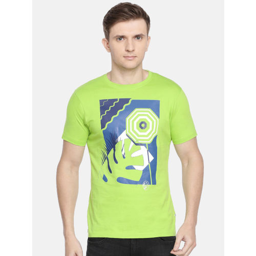 Pepe Jeans Men Green Slim Fit Printed Round Neck T-shirt