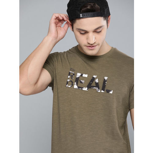 SINGLE Men Olive Green Printed Slim Fit Round Neck T-shirt