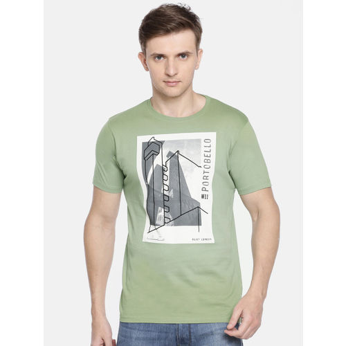 Pepe Jeans Men Olive Green Slim Fit Printed Round Neck T-shirt