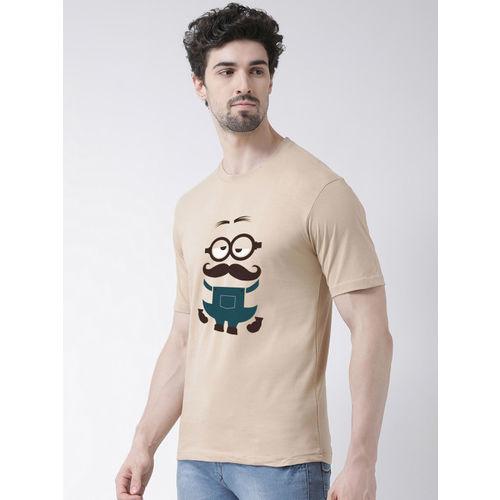 Friskers Men Beige & Black Minion Printed Round Neck T-shirt