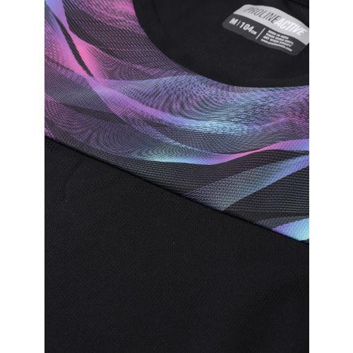 Proline Active Men Black & Purple Printed Prodry Round Neck T-shirt