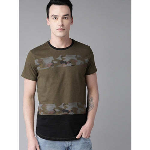 Roadster Men Olive Green & Black Printed Round Neck T-shirt