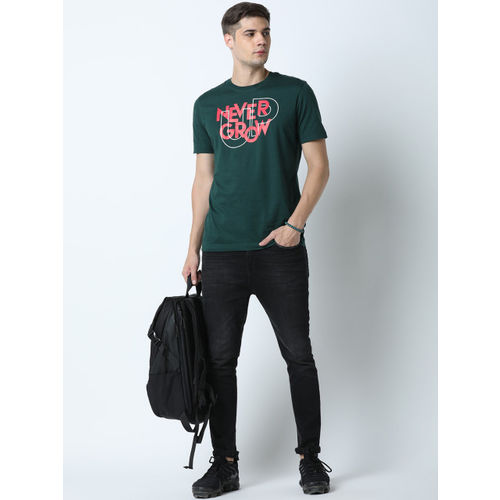 Huetrap Men Green & Red Printed Round Neck T-shirt