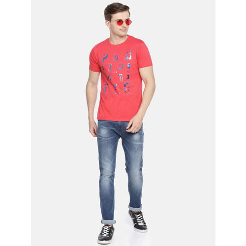 Pepe Jeans Men Coral Pink Slim Fit Printed Round Neck T-shirt