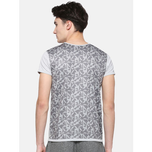 Peter England Men Grey Printed Round Neck T-shirt