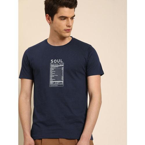 ether Men Navy Blue Printed Round Neck T-shirt