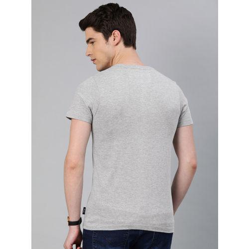 French Connection Men Grey Melange Slim Fit Printed Round Neck T-shirt