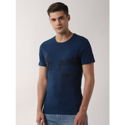 Peter England Casuals Men Navy Blue Printed Round Neck T-shirt