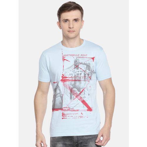 Pepe Jeans Men Blue Printed Slim Fit Round Neck T-shirt
