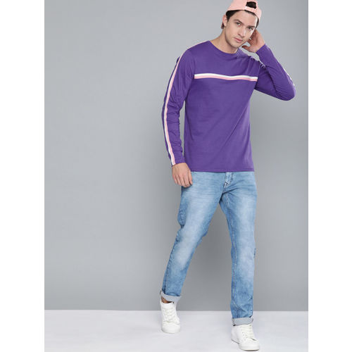 Difference of Opinion Men Purple Solid Round Neck T-shirt