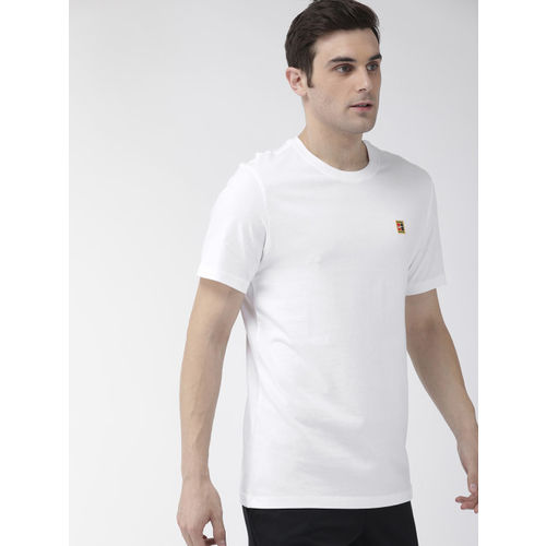 Nike Men White Standard Fit Printed NKCT COURT EMB Round Neck T-shirt