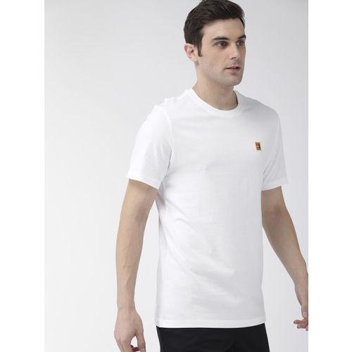 Nike Men White Standard Fit Printed NKCT COURT EMB Round Neck T-shirt
