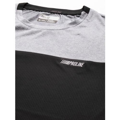 Proline Active Men Black & Grey Colourblocked Round Neck T-shirt