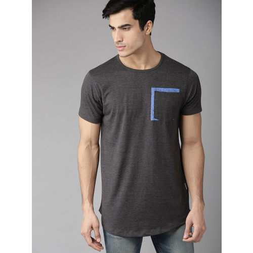 Roadster Men Charcoal Grey Solid Round Neck Longline T-shirt