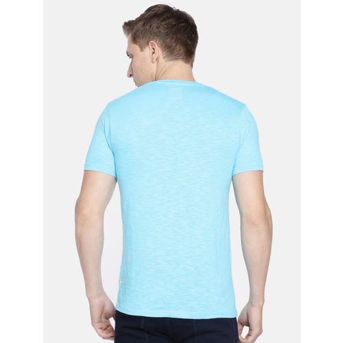 Pepe Jeans Men Turquoise Blue Solid Slim Fit Round Neck T-shirt With Contrast Pocket