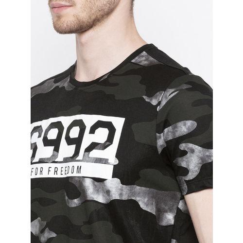 SPYKAR Men Black Slim Fit Printed Round Neck T-shirt