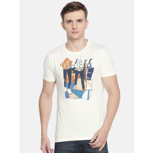 Pepe Jeans Men Off-White Slim Fit Printed Round Neck T-shirt