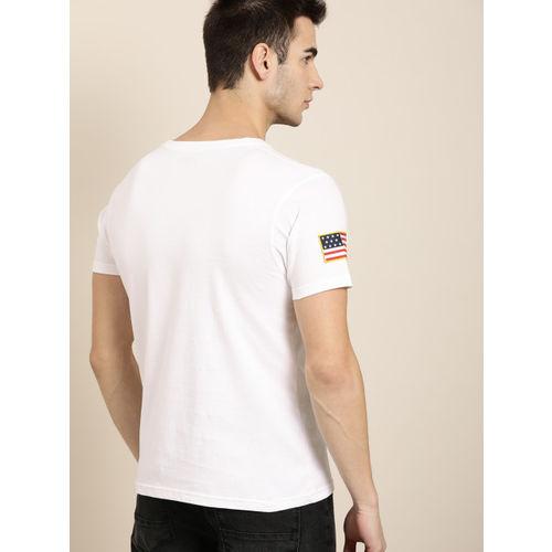 Moda Rapido Men White Striped Round Neck T-shirt
