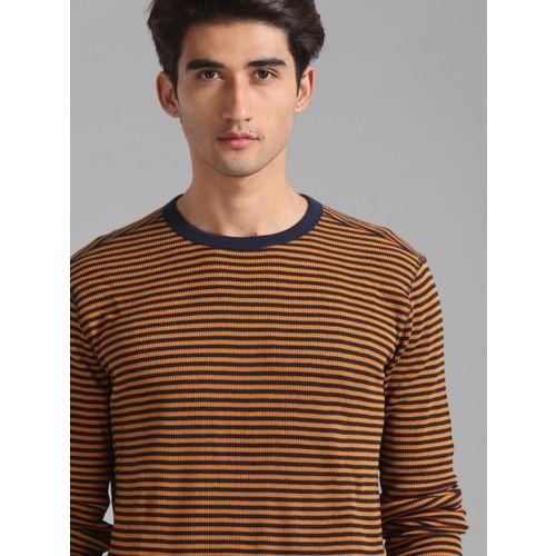 GAP Men Mustard Yellow Striped Round Neck T-shirt