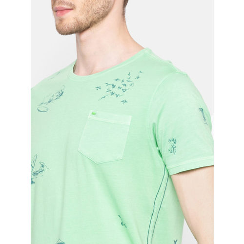 SPYKAR Men Green Slim Fit Printed Round Neck T-shirt