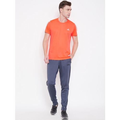 ADIDAS Men Orange 3-Stripes Self-Design Running T-Shirt