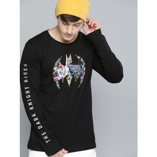 Justice League Men Black Printed Round Neck T-shirt