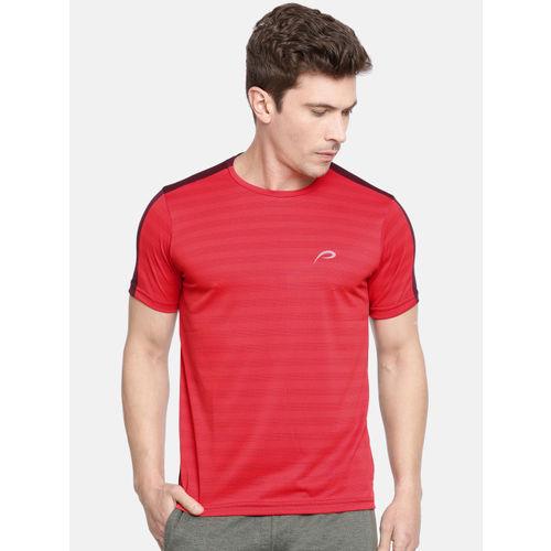 Proline Active Men Red & Burgundy Pro-Dry Colourblocked Round Neck T-shirt