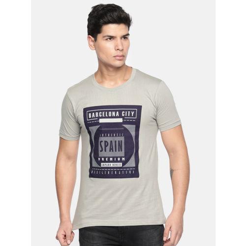 amparo berezi Men Grey Printed Round Neck T-shirt