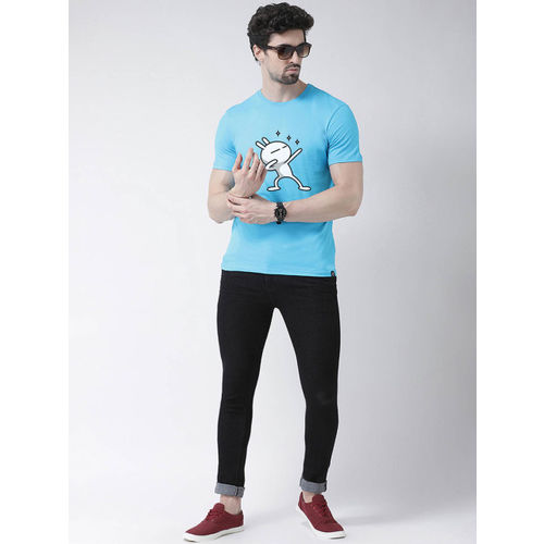 Friskers Men Blue Printed Round Neck T-shirt