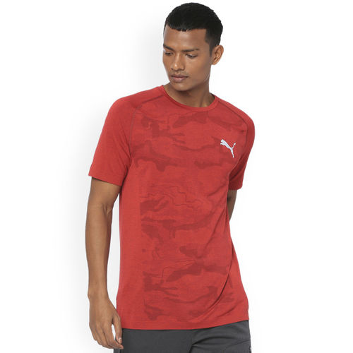 Puma Men Red Printed Round Neck Evostripe Seemless T-shirt