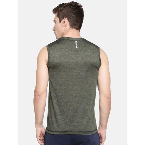 Proline Active Men Olive Green Solid Round Neck Sports T-shirt