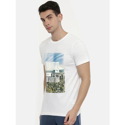 Puma Men White Printed Slim Fit Photoprint Skyline Round Neck T-shirt