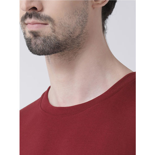 Friskers Men Maroon Printed Round Neck T-shirt