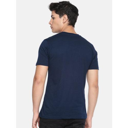 amparo berezi Men Navy Blue Printed Round Neck T-shirt