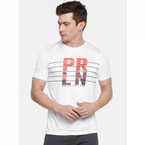 Proline Active Men White Pro-Dry Printed Round Neck T-shirt