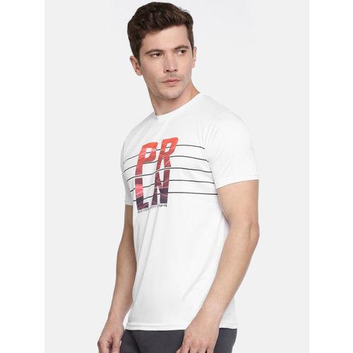 Proline Active Men White Pro-Dry Printed Round Neck T-shirt