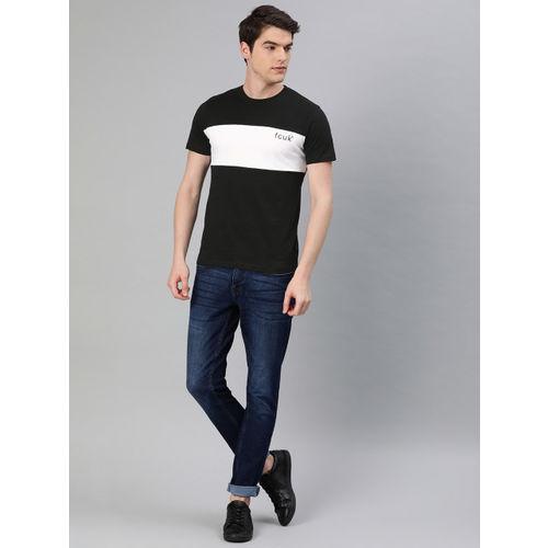 French Connection Men Black & White Slim Fit Colourblocked Round Neck T-shirt
